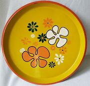 Vintage 60and039s Plastic Serving Tray Orange/yellow Mod Pop Groovy Flower Power 13