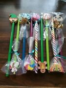 Lot Of Nine Pencils With Erasers Cat Butterfly Panda Fish Spiral Gingerbread