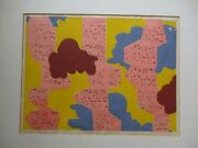 Vintage Early Technology Computer Storm 1970's Serigraph Silkscreen Abstract Mod