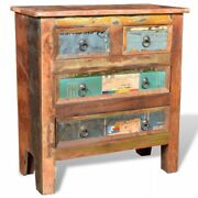Vidaxl Reclaimed Cabinet Solid Wood With 4 Drawers Retro Bedside Table Home New