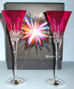 Waterford Crystal Lismore Pops Hot Pink Champagne Flute Pair 40019535 New In Box