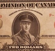 1923 Dominion Of Canada 2 Banknote. Red Seal. Group 2. Series P.