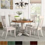 Eleanor Antique White Round Solid Wood Top 5-piece Dining