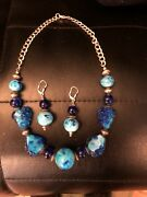 Handmade Swirl Glass Blue Beads Necklace + Earrings Silver Chain Awesome Colors