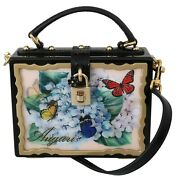 Dolce And Gabbana Bag Box Wood Black Butterfly Padlock Leather Clutch Borse 7600