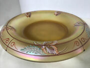 """Fenton Art Glass Hand Painted Butterfly Millennium Collection 10"""" Bowl Signed"""