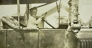 Antique Estate Black And White 1919 Photograph Billy Rooke In Early Automobile