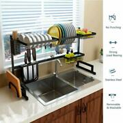 Stainless Steel Dish Rack Drainer Drying Holder With Board Chopsticks Holder New