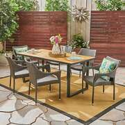 Welch Outdoor 6-seater Rectangular Acacia Wood And Wicker Teak Finish + Black +