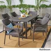 Abbott Outdoor 7 Piece Wicker Dining Set By Christopher Multi Brown N/a