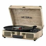 Vintage 3-speed Bluetooth Portable Suitcase Record Player Farmhouse Oatmeal