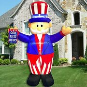 6 Ft Inflatable Independence Day Decoration Uncle Sam With God Bless America