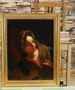 Antique Oil Painting Doubeliert Portrait Holy Mary Madonna Book Mary