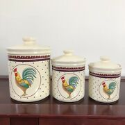 Vtg Lefton 1988 Set Of 3 Ceramic Rooster Chicken Kitchen Canisters Container
