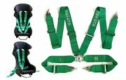 Pair Of Takata 4 Point Snap-on With Camlock Racing Seat Harness Green Universal