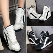 Leather Sneakers Shoes Athletic Trainers Ahtletic Ladies Creeper Ankle