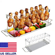 Bbq Grill Rack Chicken Leg Wing Holder With Bbq Drip Pan Tray Stainless Steel