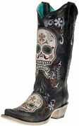 Corral Womens Sugar Skull Embroidery Western Boot Sniptoe Leather Cowboy Cowgirl