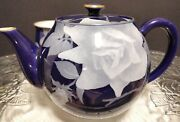 Vintage Koransha Teapot And Two Tea Cups.blue And White Rose Pattern.