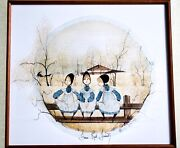 P. Buckley Moss Extremely Rare Signed And Hand-numbered Print - Fence Rail Friends