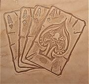 Acrylic Leather Embossing Stamp - Four Aces - For Veg Tanned Leather