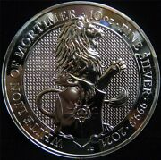 2020 Queenand039s Beast White Lion Of Mortimer 10 Oz. .9999 Silver Round Jn154
