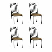 Somette Antique Taupe Suede Wrought Iron Dining Chair Set Brown 18.85 X 23.34 X