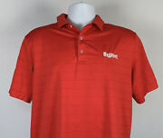 Hyvee Supermarket Aisles Online Polo Golf Shirt Mens Small Red Polyester