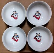 4 Kelloggs Gibson Tony The Tiger Vtg 1999 Cereal Bowls Ceramic Frosted Flakes 7