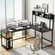 Home Office Computer Desk With Hutch Bookshelf Stand Writing Table Workstation