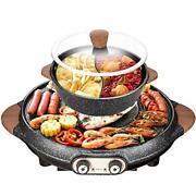 Ixaer Electric Grill Hot Pot 2 In 1 Electric Smokeless Bbq And Hot Pot Home N...