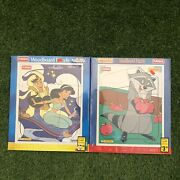 Lot Of 2 Playskool Pocahontas And Aladdin Disney Wood Board Puzzle Factory Sealed