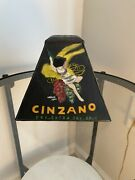Antique Cinzano Glass Lampshade Hand Painted Signed Brut Champagne Collectible
