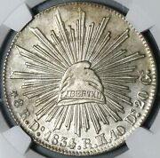 1834-do Ngc Ms 61 Mexico 8 Reales Durango Mint Silver Coin Pop 1/3 21061102c