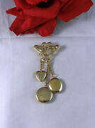 Vintage Gold Tone Ornate Lockets Heart  Pin Brooch Cat Rescue