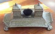 Antique Footed Brass Double Ink Well W Bristle Wipe Brush And Pen Trays