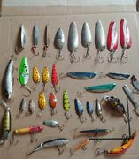 Lot Of 34 Fishing Lures And Spoons Variety Of Sizes Trout Bass Some Vintage