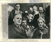 1968 Press Photo Gus Hall Us Communist Party Speaks To Newsmen In Hungary