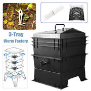 3-tray Compost Bin Worm Factory Composter Organic Kitchen Waste Allotment Us1