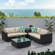 Santa Rosa Outdoor 6-piece Wicker Sectional Sofa With
