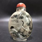 Collection Vintage Antique Glass Snuff Bottle Inside Painted Snuffbox Pine Crane