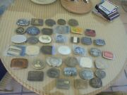 Vintage Lot Of 39 Belt Buckles Patriotic Tractor Bowling Fishing Pewter Brass