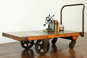 Industrial Salvage Antique Iron And Oak Factory Cart Coffee Table, Nutting 37995