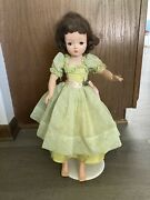 1950's Madame Alexander 20 Brunette Cissy Doll W/ Dress Jewelry And Stand