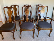Lot 6 Walnut Queen Anne Dining Room Chairs Newly Upholstered Navy Pattern Seats