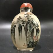 Top Collection Vintage Antique Glass Snuff Bottle Inside Painted Landscape Gifts