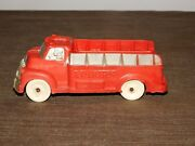 Vintage Made In Usa Toy 5 1/2 Long Rubber Plastic Auburn Red Truck