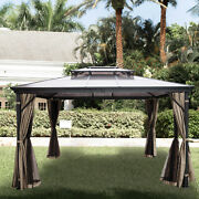 10x10and039 Gazebo Hardtop Roof Aluminum Alloy Frame W/mesh And Curtain For Patio