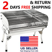 Large Stainless Steel Charcoal Grill Party Bbq Garden Lamb Kebab