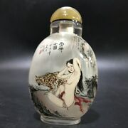 Top Collection Vintage Antique Glass Snuff Bottle Inside Painted Sexy Woman Gift
